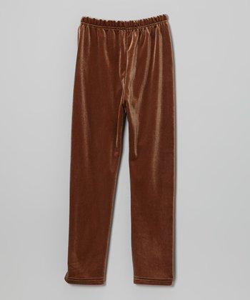 Brown Velour Leggings - Girls