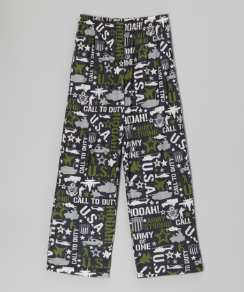 Green Military Pajama Pants - Boys