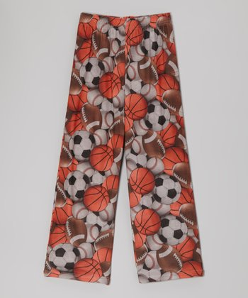 Orange Sports Ball Pajama Pants - Kids