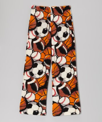 Orange & Brown Sports Plush Pajama Pants - Kids