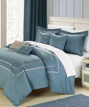 Silver & Blue Mandalay Comforter Set