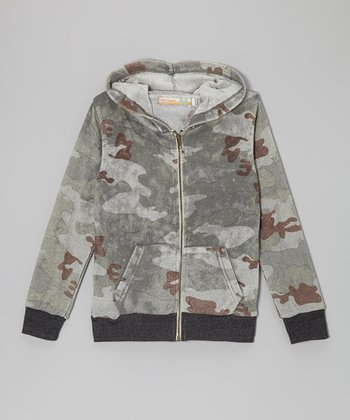 Gray & Brown Camo Zip-Up Hoodie