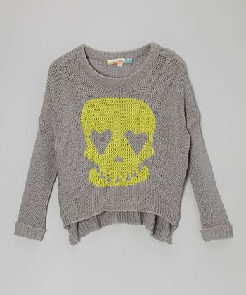 Gray & Yellow Skull Heart Sweater