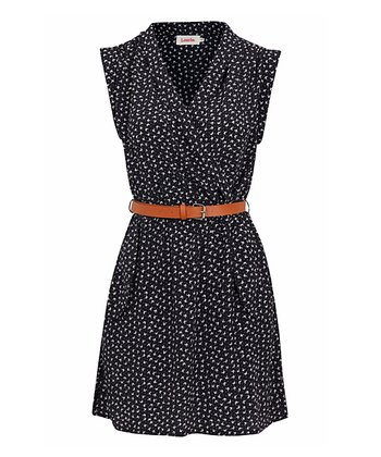 Navy & White Bow Print Belted Dress