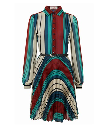 Red & Blue Stripe Belted Pleated Dress