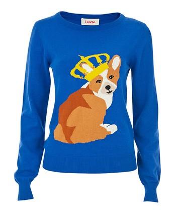 Blue & Brown King Corgi Sweater