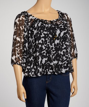 Navy & White Floral Three-Quarter Sleeve Top - Plus