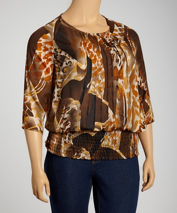 Brown & Black Pleated Three-Quarter Sleeve Top - Plus