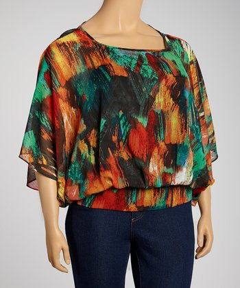 Red & Green Abstract Cape-Sleeve Top - Plus