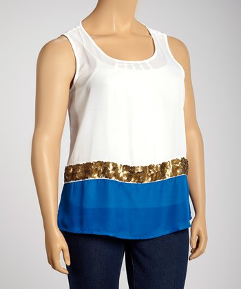 White & Royal Blue Sheer Sequin Sleeveless Top - Plus