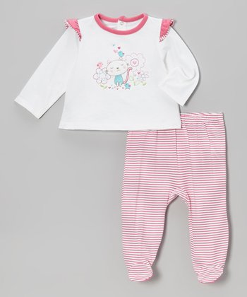 White Kitty Tee & Pink Footie Pants - Infant