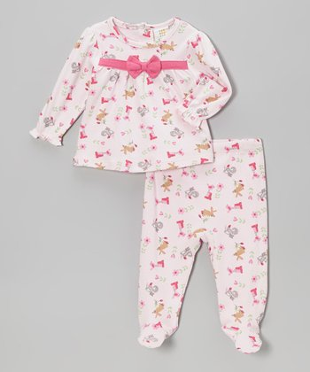 Light Pink Puppy Babydoll Top & Footie Pants - Infant