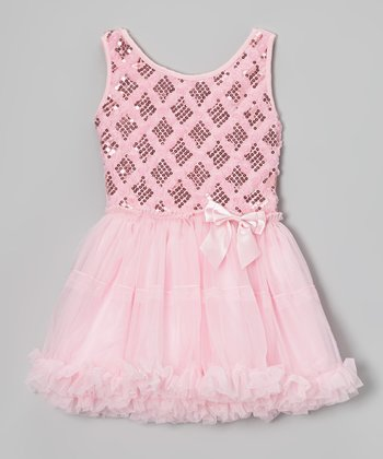Pink Paillette Rosette Tulle Dress - Toddler & Girls