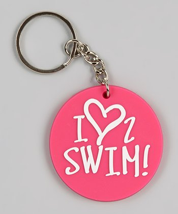 Pink 'I Love 2 Swim' Key Chain