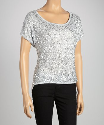 Gray Sequin Top