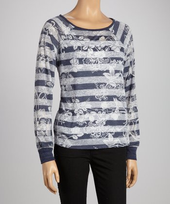 Navy Floral Stripe Long-Sleeve Top