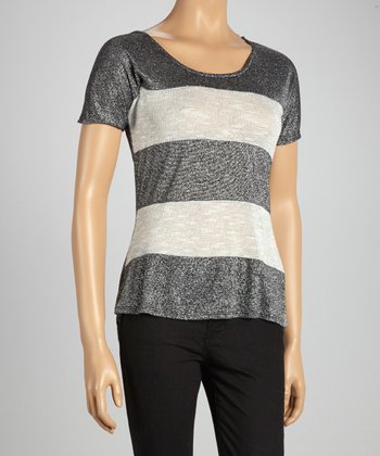 Gray Stripe Short-Sleeve Top