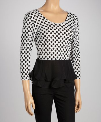 Black Polka Dot Peplum Top