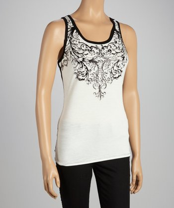 White & Black Two-Tone Filigree Tank