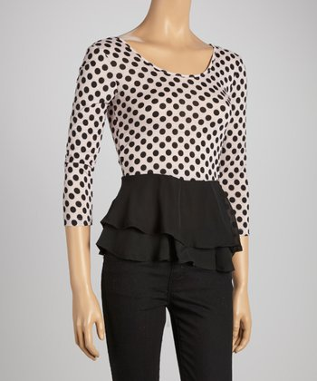 Pink & Black Polka Dot Sheer Peplum Top