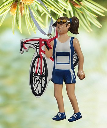 Brown-Haired Woman Triathlete Ornament