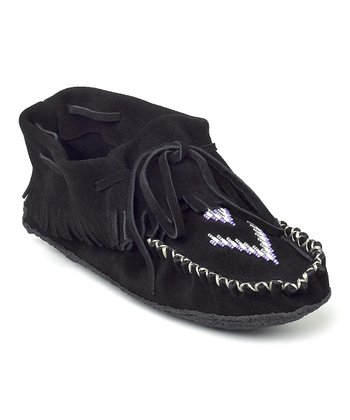 Black Suede Trapper Moccasin