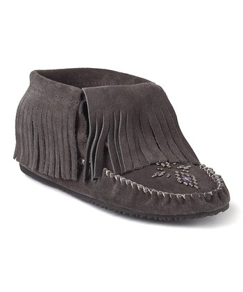 Gray Paddle Suede Moccasin Boot