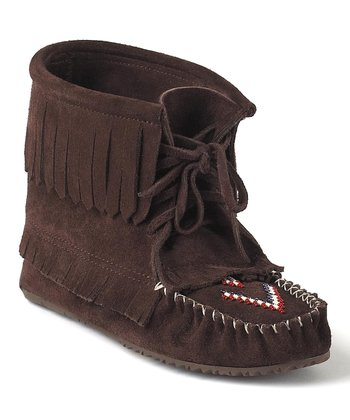 Chocolate Harvester Suede Moccasin Boot