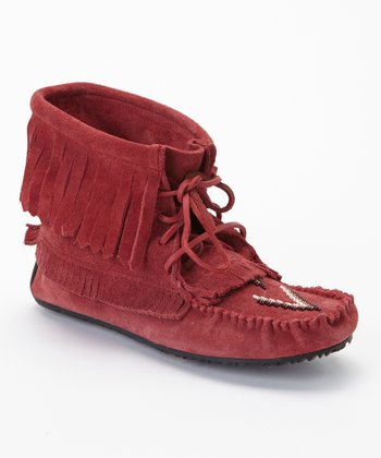 Red Harvester Suede Moccasin Boot