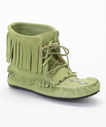 Mint Harvester Suede Moccasin Boot