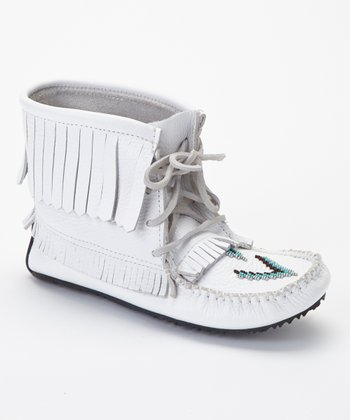 White Harvester Grain Moccasin Boot