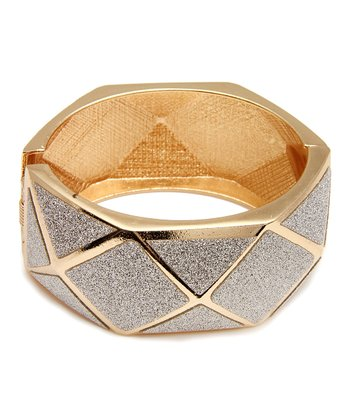 Gold & Gray Geometric Bangle