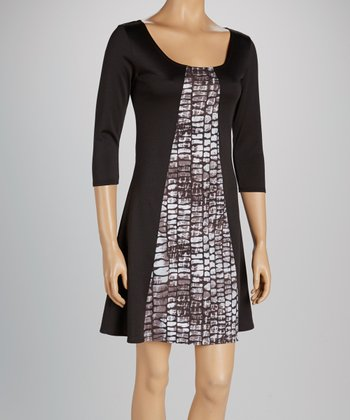 Black & Gray Python Panel Scoop Neck Dress