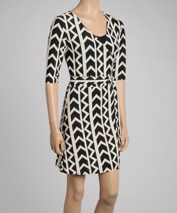 Nude & Black Geo Wrap Dress