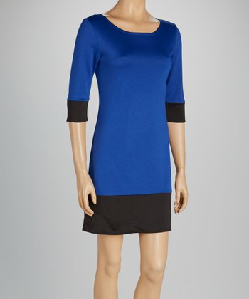Royal Blue & Black Three-Quarter Sleeve Dress