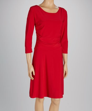 Red Scoop Neck Three-Quarter Sleeve A-Line Dress