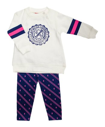 Cream 'American Inspired' Sweatshirt & Purple Leggings - Infant