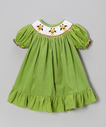 Green Owl Corduroy Bishop Dress - Infant, Toddler & Girls