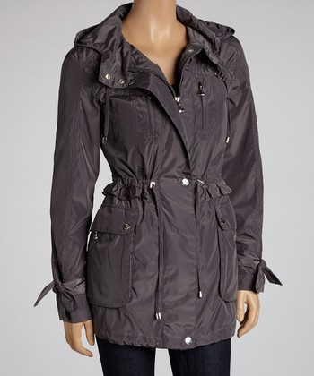 Steel Ruffle Anorak Coat - Women
