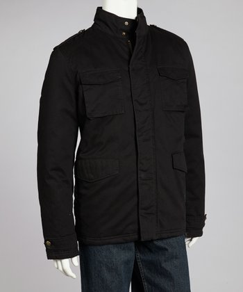 Black Cotton Twill Cargo Jacket - Men