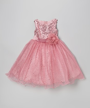 Dusty Rose Sequin Tulle A-Line Dress - Toddler & Girls