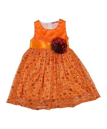 Orange Shimmer-Circle A-Line Dress - Toddler & Girls