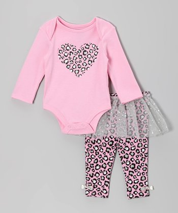 Pink & Gray Bodysuit & Skirted Leggings - Infant