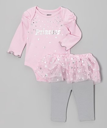 Pink & Gray 'Princess' Bodysuit & Skirted Leggings