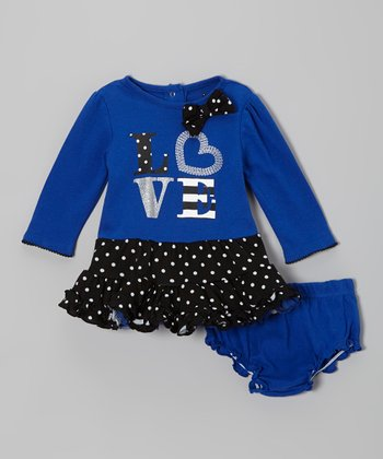 Blue & Black 'Love' Dress & Diaper Cover - Infant