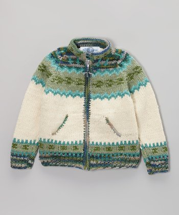 Green Icelandic Wool-Blend Zip-Up Sweater - Infant, Toddler & Kid