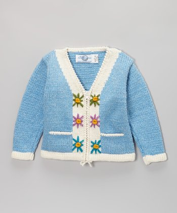 Blue & White Floral Wool-Blend Cardigan - Toddler & Girls