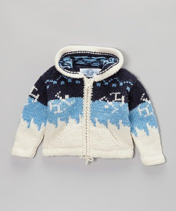 White & Blue Nordic Wool-Blend Zip-Up Hoodie - Infant & Girls