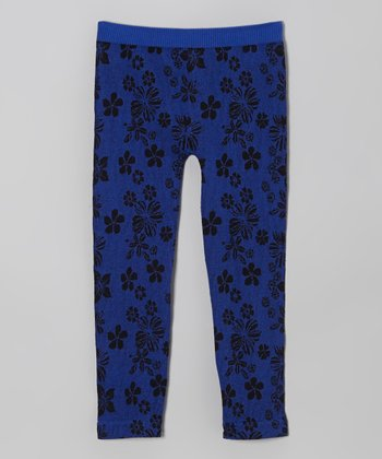 Royal Blue Floral Leggings - Girls