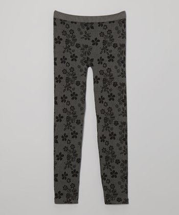 Gray Floral Leggings - Girls